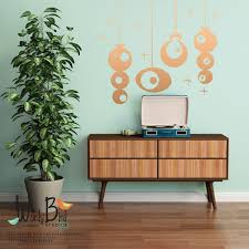 mid century style gold ornaments wall decal sticker set holiday mid century style gold ornaments wall decal sticker set holiday decorations party decorations