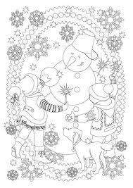 boy dog snowman playing coloring