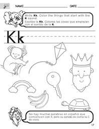 letter k sound worksheet with instructions translated into spanish