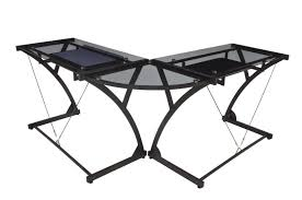 techni mobili black glass corner desk soho collection regency seating