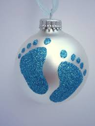 blue baby glitter ornament baby boy footprint