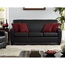 Black Leather Sofa Living Room by Dorel Living Mainstays Faux Leather Sofa Black