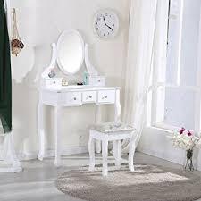 coiffeuse pour chambre anaelle pandamoto coiffeuse meuble en mdf avec tabouret 5 tiroirs
