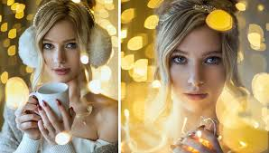 how to take amazing portraits using only christmas lights in an