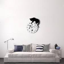 Fish Home Decor 3d Home Decor Acrylic Wall Clock Cat And Fish Design Big Watch