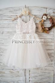 ivory lace tulle spaghetti straps wedding flower dress with