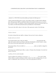 free sample business trust agreement form template