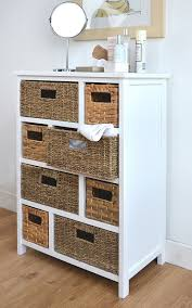 White Wicker Bathroom Drawers Furniture For Bathroom Decorating Using White Wood Storage