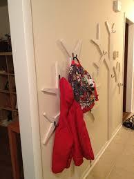 built in white diy coat hanger rack in tree branch design for kids