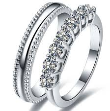 couples rings online images Amazing pure silver couple rings promise synthetic diamonds pair jpg