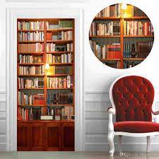 77x200cm 3d vivid retro bookcase wall stickers diy mural study