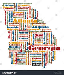 Map Of Georgia Usa by Word Cloud Map Georgia State Usa Stock Vector 104930504 Shutterstock