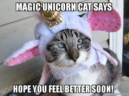 Feel Better Meme - magic unicorn cat says hope you feel better soon make a meme