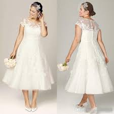 plus size wedding dresses with sleeves tea length discount 2017 plus size wedding dresses tea length bridal gowns