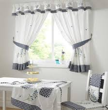 Blue And White Window Curtains Decorating Gorgeous Small White Dining Room Decoration Using