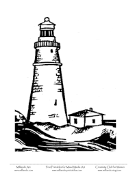 outline of a lighthouse lighthouse scene coloring page