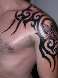 upper arm over shoulder tribal tattoos design for men tribal