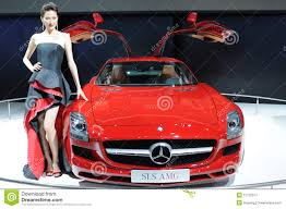 car mercedes red model and red mercedes benz sls amg car editorial photography