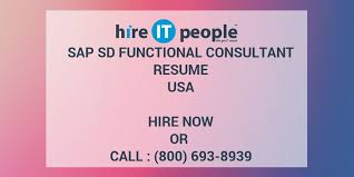 Sample Resume For Sap Sd Consultant by Sap Sd Functional Consultant Resume Hire It People We Get It Done