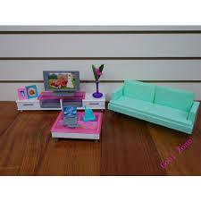 Barbie Dolls House Furniture Miniature Leisure Living Room Furniture Set For Barbie Doll House