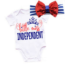 little miss independent fourth of july for baby girls