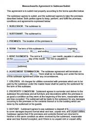 free roommate agreement template free massachusetts sublease agreements pdf word doc