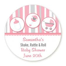 shake rattle and roll baby shower shake rattle roll pink personalized sticker labels shake