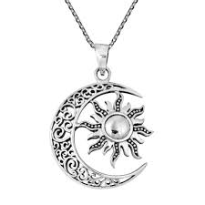 celtic crescent moon and sun eclipse sterling silver necklace