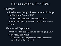 Challenge Causes The Civil War Causes Of The Civil War Slavery Southerners