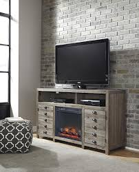 Tv Stand With Fireplace Rustic Gray Brown Pine Tv Stand With Electric Fireplace Insert By