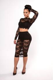 two piece o neck long sleeves floral lace hollow out black