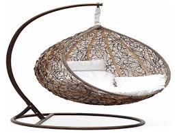 garden rattan wicker double seat hanging swing egg chair with