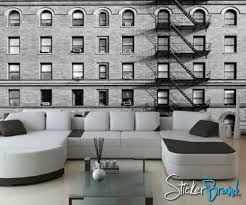 wall mural decal sticker building apartment black white 5ft