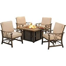 Agio 7 Piece Patio Dining Set - amazon com agio seville5pcfp 5 piece seville fire pit set beige
