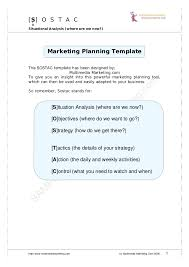 marketing planning template sostac sample