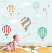 hot air balloon wall decal kites star sticker nursery hot air balloon wall decal kites star sticker nursery gender neutral baby decor blue coral mustard and away summer