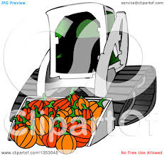 clipart of a bobcat skid steer loader with halloween pumpkins in