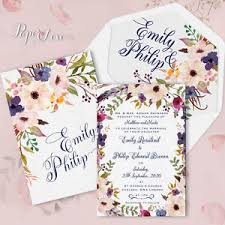 Rustic Wedding Invites Boho Floral Personalised Wedding Invitations Rustic Wedding Cards