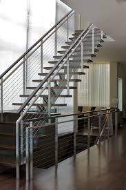 Stainless Steel Banister Rail Modern Railings Custom Stairs Chicago Modern Staircase Design