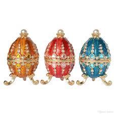 2017 russian craft faberge egg w castle trinket box metal egg