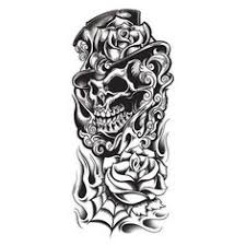 clip art of three black and white skulls tattoo designs by