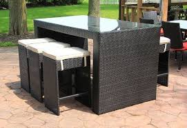 7 piece black resin wicker outdoor furniture bar dining set red