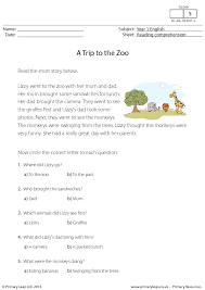 printable comprehension stories comprehension a trip to the zoo