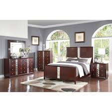 Cherry Bedroom Furniture Step One Glam Cherry Bedroom Bed Dresser U0026 Mirror King
