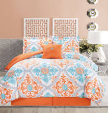 blue and orange bedding 5 piece regal orange blue white comforter set ebay