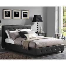 Tufted Platform Bed Bedroom Accent Stool Black Leather Tufted Platform Bed
