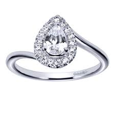 pear engagement ring 14k white gold pear diamond halo swirl engagement ring