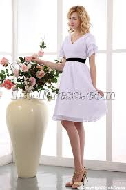 white and black babydoll knee length short bridal dresses with