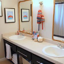 mirror with black wooden frame wall lamps washbasin stainless