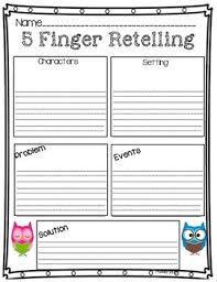 5 finger retelling worksheets and anchor chart by made in brooklyn